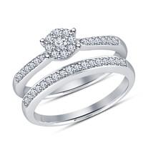 Brilliant Blue & White Diamond Engagement Bridal Ring Set In 14k White G... - £74.27 GBP