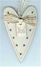 Cream Christmas Heart Ornament wooden The Bee Company  - $4.50