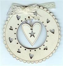 Cream Christmas Wreath & Heart Ornament wooden The Bee Company  - $4.50