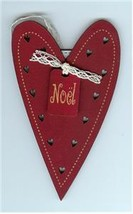 Red Christmas Heart Ornament wooden The Bee Company  - $4.50
