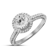 Silver 925 Solitaire With Accents 14K White Gold Filled RD White Diamond... - £87.51 GBP