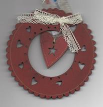 Red Christmas Wreath & Heart Ornament wooden The Bee Company  - $4.50
