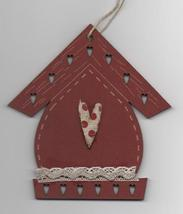 Red Christmas Birdhouse Ornament wooden The Bee Company  - $4.50