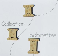Spools Collection Buttons 3pcs wooden The Bee Company  - $3.75