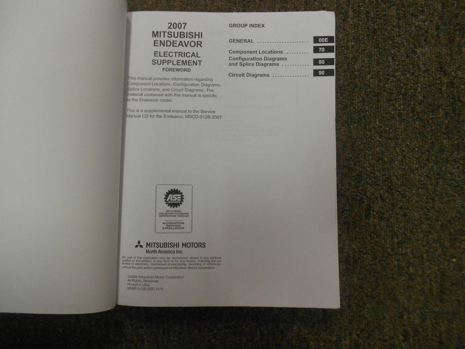 2007 MITSUBISHI ENDEAVOR Electrical Supplement Service Repair Shop Manual OEM
