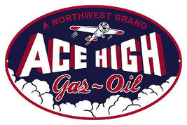 Large Oval Northwest Ace High Gas Motor Oil Sig... - $29.70