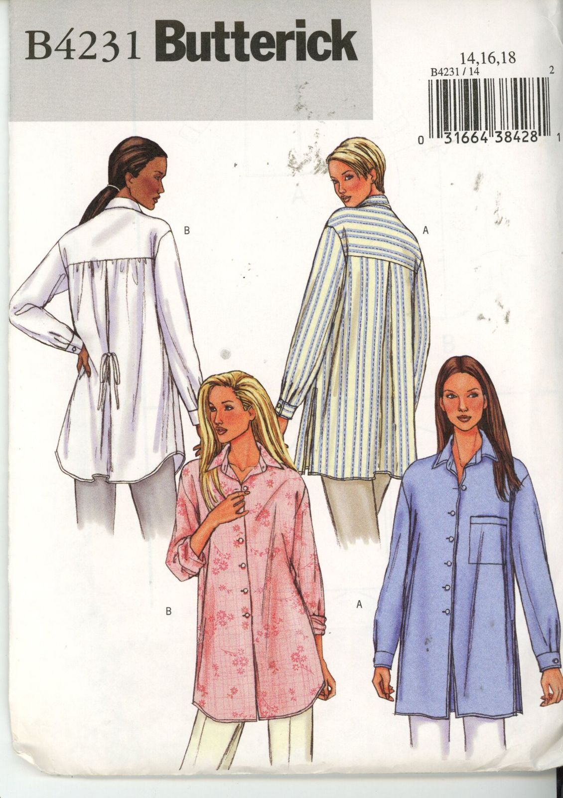 Primary image for Butterick 4231 Misses Shirt - Size 14-16-18 UNCUT