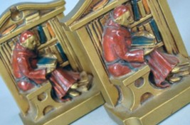 Cold painted Brass Bookends - Monks Reading - $360.00