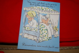 Vintage American Greetings Corp. Birthday Card Old Couple In Bed Humor  - $5.00