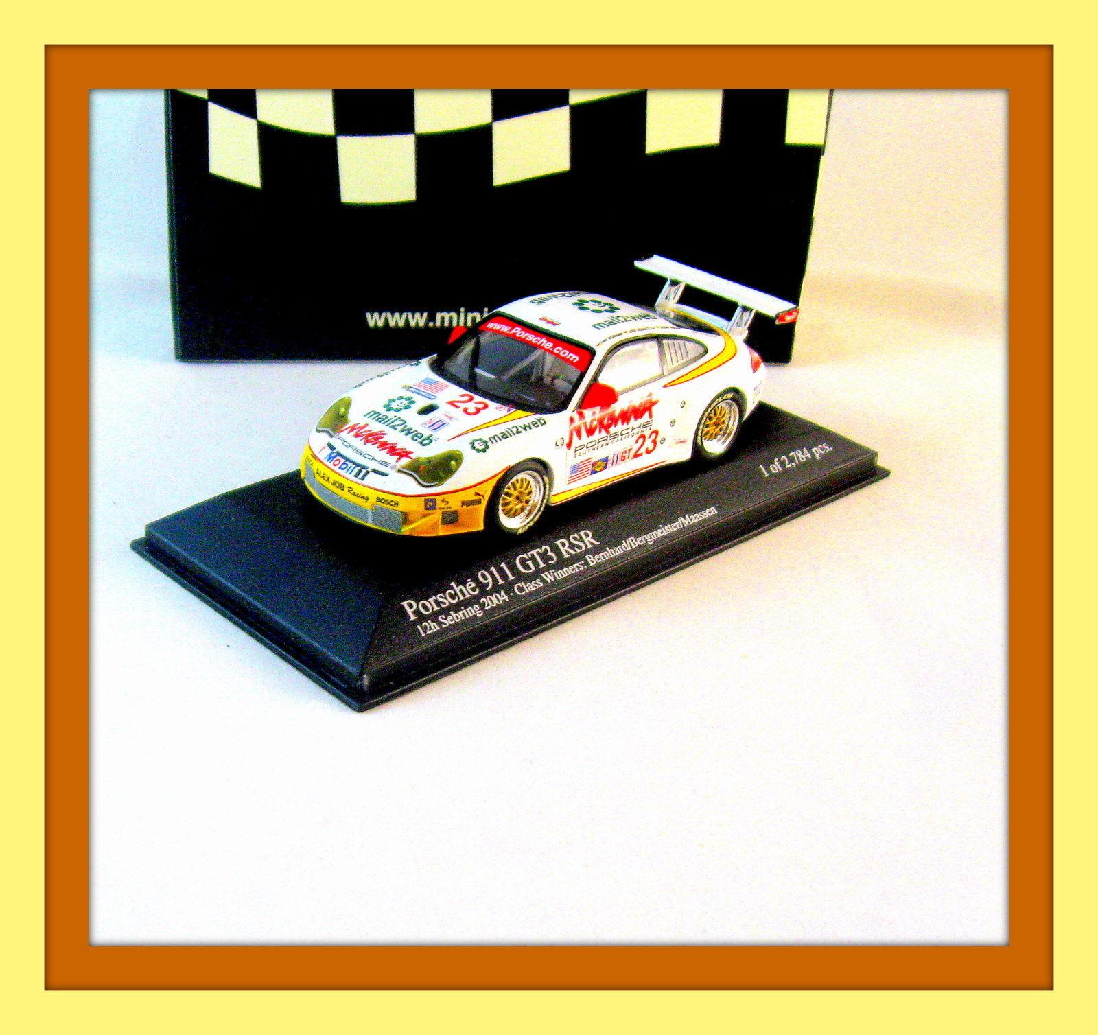 PORSCHE 911 GT3-RSR 12h SEBRING 2004 ,LIMITED EDITION,MINICHAMPS 1/43 MODEL,NEW - $44.09