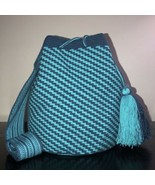Authentic 100% Wayuu Mochila Colombian boho Bag Large Size  blue single ... - £106.30 GBP