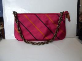 Vintage J CREW Silk Tie Print Shoulder Bag Fuschia Orange Black Stripe w... - $19.80