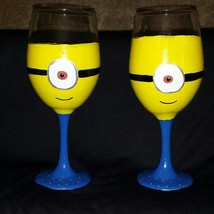Cute Minion Painted Wine Goblets - $25.00