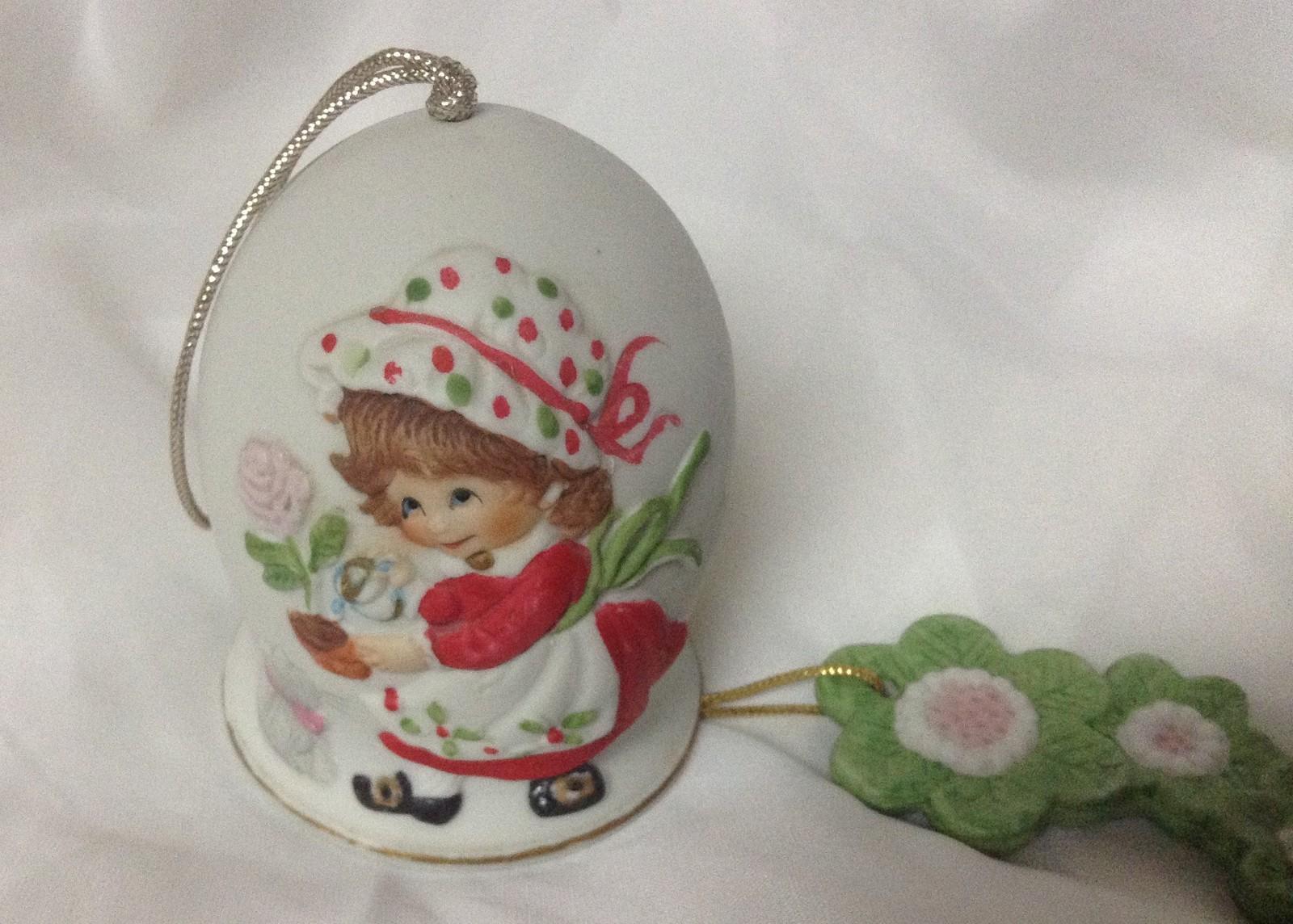 Dutch Girl & Kitten Porcelain Bell Ornament Jasco 1981