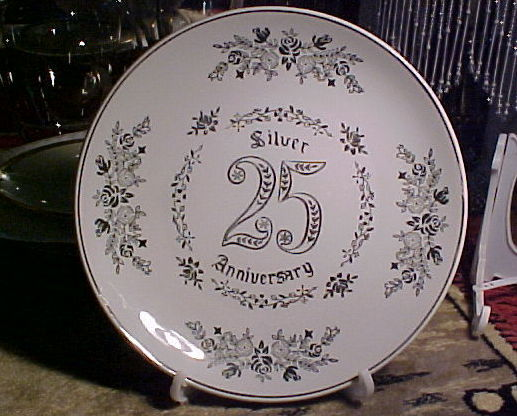 "25th Wedding Anniversary NAPCOWARE C-6579 China Plate-7½"" Silver Flowers SCRI"