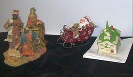 Mixed Lot of 3 Christmas Decorations, Wisemen, Santa & Sleigh, Ceramic C... - $7.01