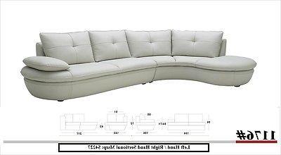 J&M 1176 Sectional Sofa White Full Top Grain Italian Leather Modern Right