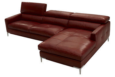 J&M 1281 Sectional Sofa Full Top Grain Italian Leather Modern Right or Left