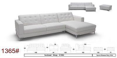 J&M 1365 Sectional Sofa Full Top Grain Italian Leather Modern Right or Left
