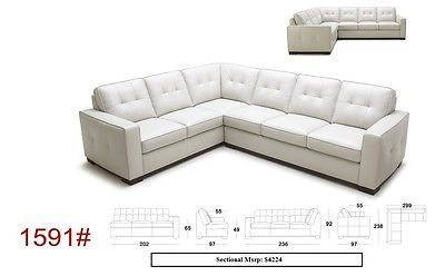 J&M 1591 Sectional Sofa Full Top Grain Italian Leather Modern Right or Left