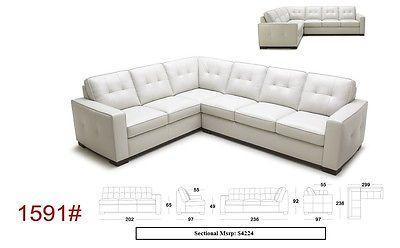 J&M 1591 Sectional Sofa Full Top Grain Italian Leather Modern Right or Left