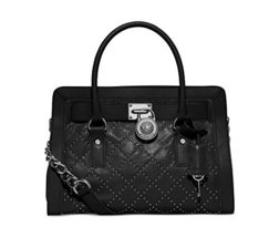Michael Kors Hamilton Women's Medium Leather Studded Quilted Satchel Han... - $291.05
