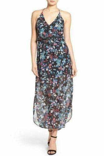 Lush Surplice Maxi Dress Black Pink Floral Sz Medium M NWOT