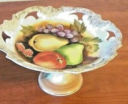 Fruited Bowl On A Pedestal Fruit Design 22K Gold Trim Hand Painted - $24.75