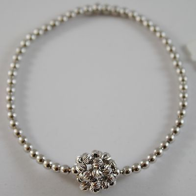 SOLID 18K WHITE GOLD BRACELET WITH LUMINOUS FACETED BALLS CENTRAL MADE IN ITALY