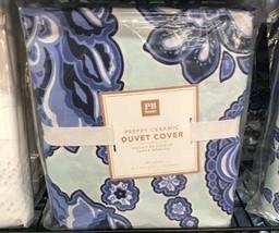 Pottery Barn Teen Preppy Floral Duvet Cover Blue Twin 1 Standard Sham Te... - $79.99