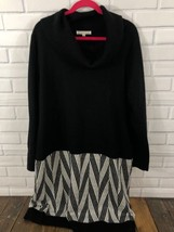 Sandra Darren Womans 2X Pullover Sweater Dress Black White Stripes Cowl ... - $18.69