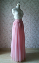 A Line Tulle Wedding Skirt Maxi Long Tulle Skirt Pink Wedding Separate(US0-US30) image 3