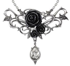 Bacchanal Rose Grapes Dionysus Black Roses Crystal Necklace P700 Alchemy Gothic - $79.95