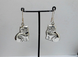 Silver Cat Dangle Earrings, 925 Sterling Silver Earrings, Cat lovers Ear... - $35.00