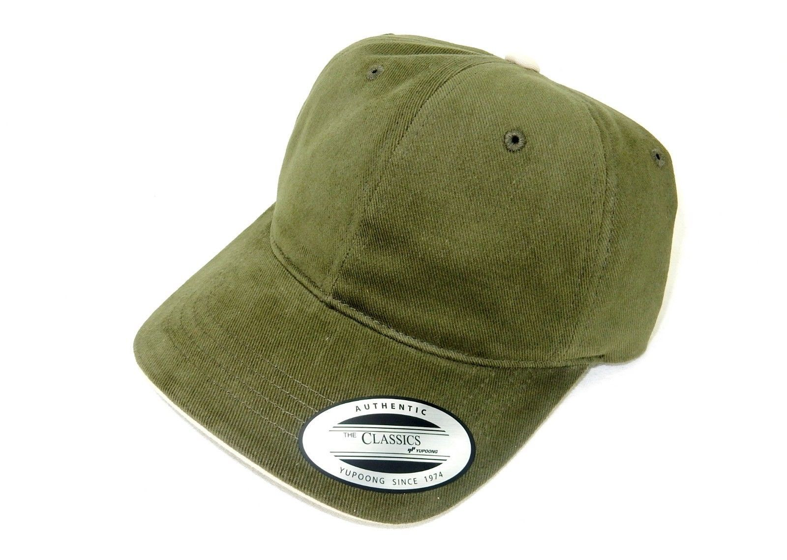 Baseball Cap, 6-Panel FlexFit w/Adjustable Headband, Cotton, Stone/Olive, #6161