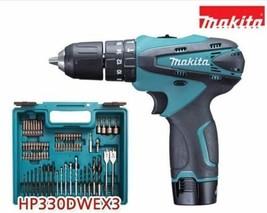 Makita HP330DWEX3 108V 1.3Ah Cordless Driver Drill 74pcs Acc / 220V Charger image 2