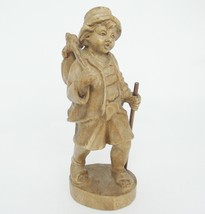 Hand Carved Wooden Alpine Traveler with Pack Knapsack and Walking Stick ... - $24.74