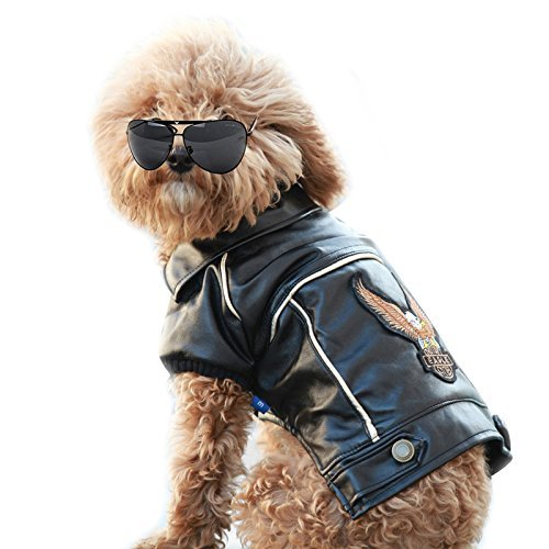 NACOCO Pu Leather Motorcycle Jacket for Dog Pet Clothes Leather Jacket, Waterpro - $12.99 - $14.99