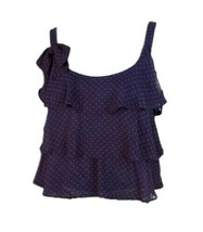 Zara TRF Womens Navy Blue Red Hearts Tiered Scoop Neck Casual Tank Top Sz S - $14.85