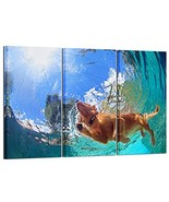 Kreative Arts - 3 Pieces Large Canvas Wall Art Golden Retriever Dog Swim... - $79.00