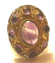 ART DECO VINTAGE GOLD WASH OVER STERLING SILVER AMETHYST CHINA CHINESE RING - $250.00