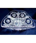 Vintage Clear Crystal Glass dish bowl bent sides  - $45.54