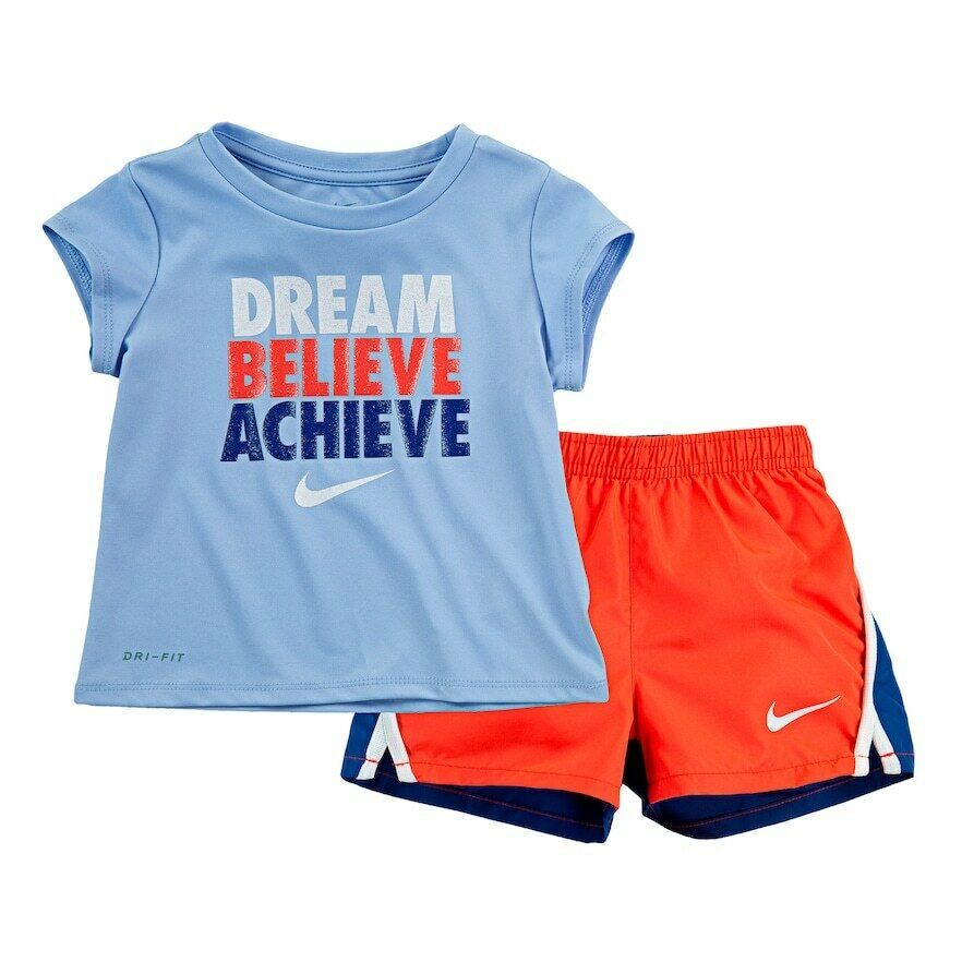 "Girl Nike Dri-FIT ""Dream Believe Achieve"" Tee & Shorts Set sz 18 mo new nwt blue"