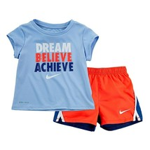 "Girl Nike Dri-FIT ""Dream Believe Achieve"" Tee & Shorts Set sz 18 mo new ... - $16.69"