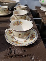 Flat Bouillon Cup & Saucer in Victoria (Floral Basket) by Johnson Brothe... - $42.52