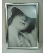 Vintage Framed Art Deco Girl Model Black White Photo in Silver Wood Glas... - $19.75