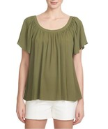 New Nordstrom 1. State Green Flutter Sleeve Blouse Top Size Medium was $89 - $27.44