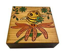 MilmaArtGift Honey Bee on a Flower Decorative Wooden Box Polish Handmade Wood Ke - $29.69