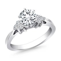 14k White Gold Cathedral Engagement Ring with Side Diamond Clusters - $2,130.00