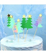 10pcs/lot Christmas Tree Cake Toppers, Green & Shiny Silver XMAS Cupcake... - $8.82
